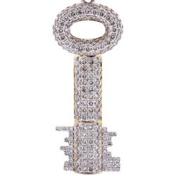 Mens Diamond Double Sided Key Pendant 10K Yellow Gold 2.24ct