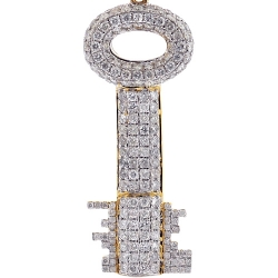 Mens Diamond Two Side Key Pendant Solid 10K Yellow Gold 2.85ct