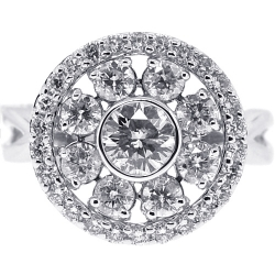 18K White Gold 2.01 ct Diamond Cluster Womens Round Ring