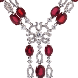 14K White Gold 29.02 ct Ruby Diamond Y Shape Necklace