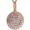 14K Rose Gold 1.61 ct Diamond Smiley Round Pendant Necklace