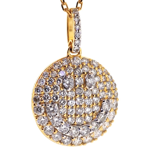 Womens diamond smiley round pendant necklace 14k yellow gold 14k yellow gold 162 ct diamond smiley round pendant necklace aloadofball Images