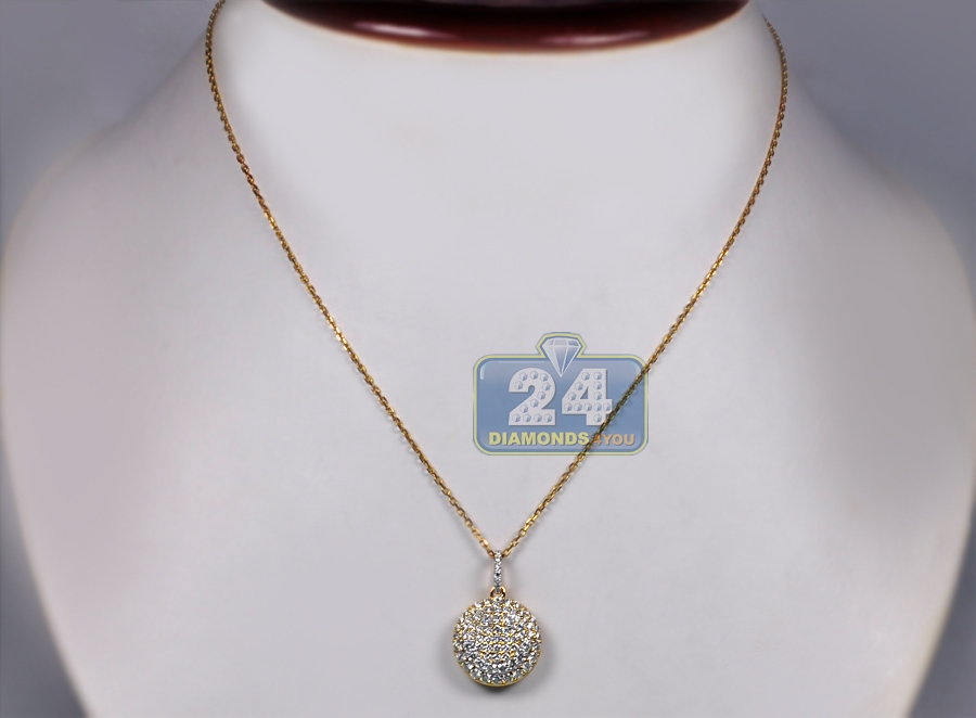Womens diamond smiley round pendant necklace 14k yellow gold 14k yellow gold 162 ct diamond smiley round pendant necklace mozeypictures Image collections