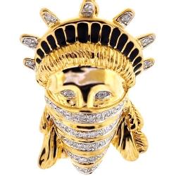 10K Yellow Gold 0.29 ct Diamond Statue of Liberty Bandana Pendant