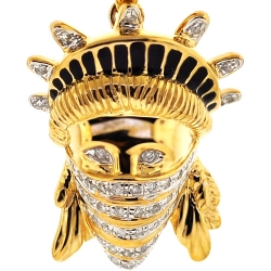 10K Yellow Gold 0.25 ct Diamond Statue of Liberty Gangsta Pendant