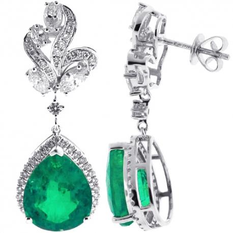 18K White Gold 10.19 ct Emerald Diamond Womens Drop Earrings