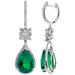 Womens Emerald Diamond Dangle Earrings 18K White Gold 16.25 ct