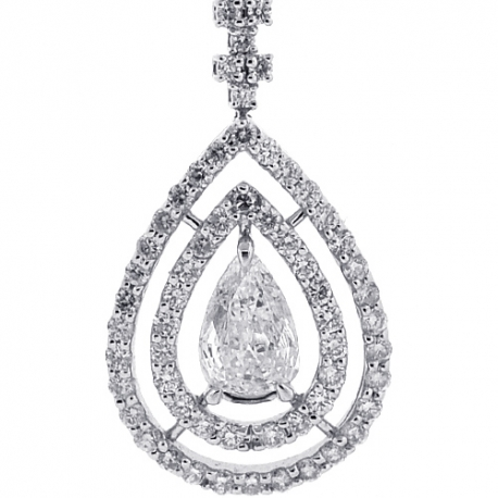 Womens Pear Diamond Y Shape Drop Necklace 14K White Gold 4.24ct