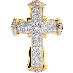 Mens Diamond Puff Cross Religious Pendant 10K Yellow Gold 0.92ct