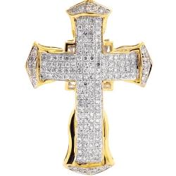 10K Yellow Gold 0.92 ct Diamond Puff Cross Mens Pendant