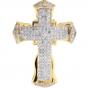 Mens Diamond Puff Cross Religious Pendant 10K Yellow Gold 0.92ct