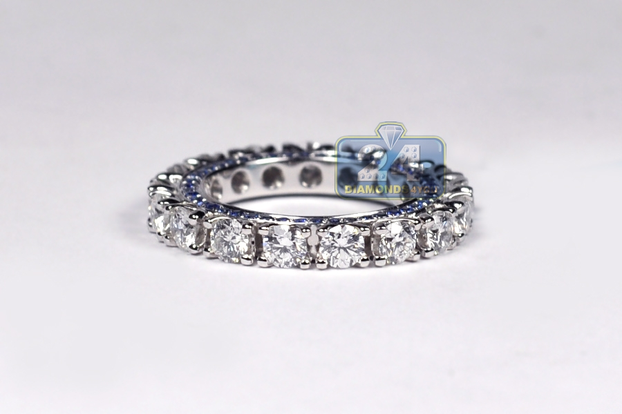 18k white gold ct diamond blue sapphire womens. Black Bedroom Furniture Sets. Home Design Ideas
