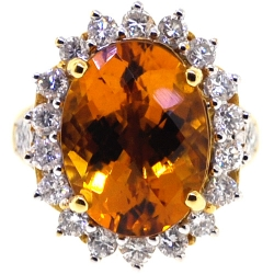 18K Yellow Gold 10.55 ct Citrine Diamond Cocktail Flower Halo Ring
