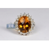 Womens Citrine Diamond Cocktail Flower Halo Ring 18K Yellow Gold