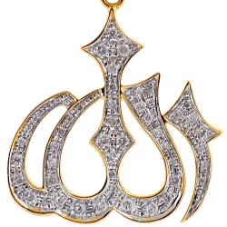 Mens Diamond Allah Islamic Reigious Pendant 10K Yellow Gold .40ct