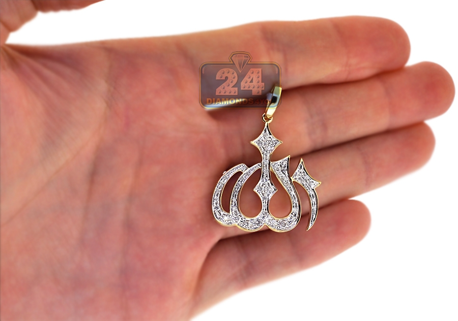 Mens Diamond Allah God Religious Pendant 10K Yellow Gold 0 ...