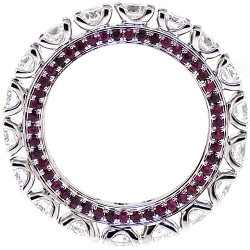 18K White Gold 4.30 ct Diamond Ruby Eternity Band Ring