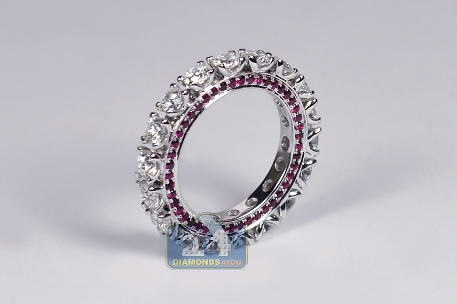 4 30 Ct Diamond Ruby Womens Eternity Band Ring 18k White Gold