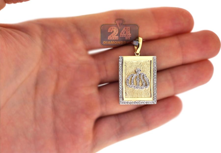 Mens diamond allah medallion tag pendant 10k yellow gold 047 ct 10k yellow gold 047 ct diamond allah medallion mens pendant aloadofball Gallery
