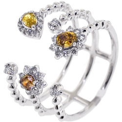 Womens Canary Diamond 3 Rows Open Cuff Ring Solid 14K White Gold