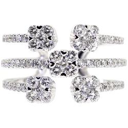 14K White Gold 1.35 ct Diamond Open Cuff Multiband Ring