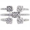 Womens Diamond Open Cuff Multiband Ring 14K White Gold 1.35 Ct