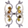 Womens Yellow Diamond Open Cuff Flower Ring Solid 14K White Gold