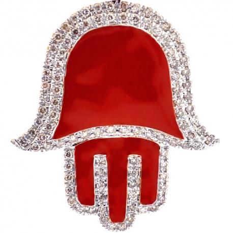10K Yellow Gold Red Enamel 0.80 ct Diamond Hamsa Hand of God Pendant