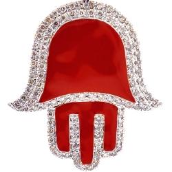 10K Yellow Gold Red Enamel 0.80 ct Diamond Hand of God Pendant