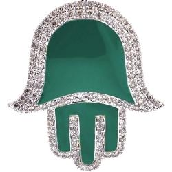 10K Yellow Gold Green Enamel 0.80 ct Diamond Hand of God Pendant