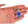 10K Yellow Gold Blue Enamel 0.80 ct Diamond Hand of God Pendant