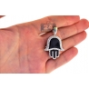 10K Yellow Gold Black Enamel 0.80 ct Diamond Hand of God Pendant