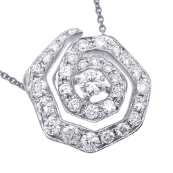Womens Diamond Evil Eye Pendant Necklace 14K White Gold 1.37ct
