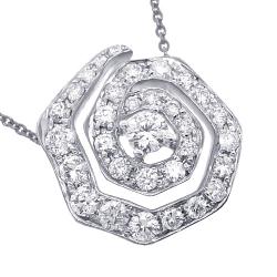 14K White Gold 1.37 ct Diamond Evil Eye Pendant Necklace 17 inch