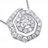 Womens Diamond Evil Eye Pendant Necklace 14K White Gold 1.37ct
