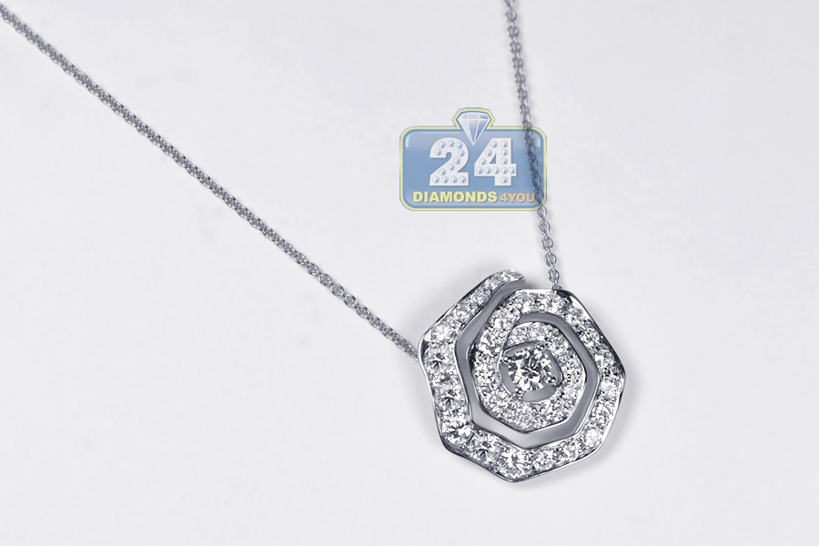 Womens Diamond Evil Eye Pendant Necklace 14k White Gold 1 37ct