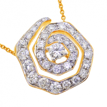 Womens Diamond Evil Eye Pendant Necklace 14K Yellow Gold 1.35ct