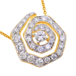14K Yellow Gold 1.35 ct Diamond Evil Eye Pendant Necklace 17 inch