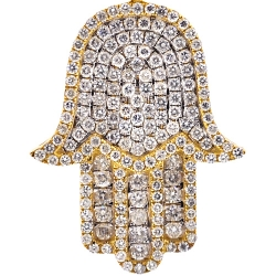 Mens Diamond Iced Out Hamsa Hand Pendant 10K Yellow Gold 3.51ct