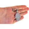 Mens Diamond Iced Out Hamsa Hand Pendant 10K White Gold 3.48ct