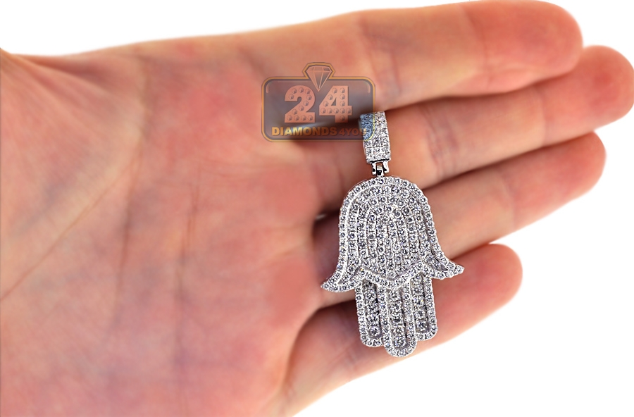 Mens diamond iced out hamsa hand pendant 10k white gold 348 ct 10k white gold 348 ct diamond iced out hamsa hand pendant mozeypictures Gallery