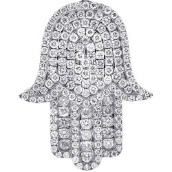 Mens Diamond Pave Hamsa Hand Pendant 10K White Gold 2.14ct