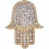 Mens Diamond Pave Hamsa Hand Pendant 10K Yellow Gold 2.12ct