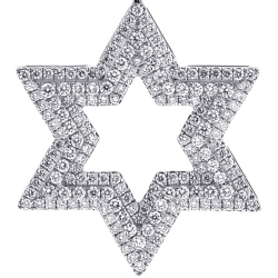 Mens Diamond 3 Rows Star of David Pendant 14K White Gold 1.80ct