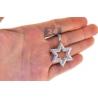Mens Diamond 3 Rows Star of David Pendant 14K White Gold 1.80ct