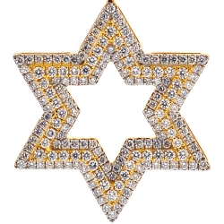 Mens Diamond 3 Rows Star of David Pendant 14K Yellow Gold 1.83ct