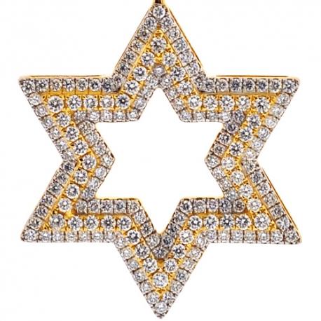 Mens Diamond Star of David Jewish Pendant 10K Yellow Gold 1.87ct