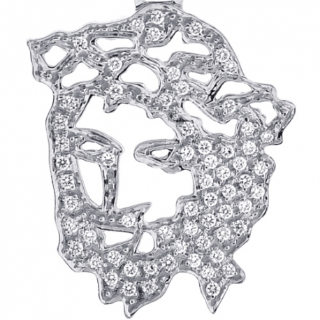 Mens Diamond Jesus Christ Face Openwork Pendant 10K White Gold