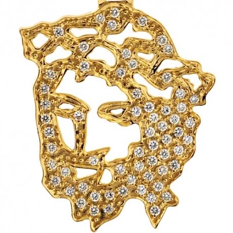Mens Diamond Jesus Christ Head Silhouette Pendant 14K Yellow Gold