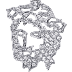 Mens Diamond Jesus Christ Head Cut Out Pendant 14K White Gold